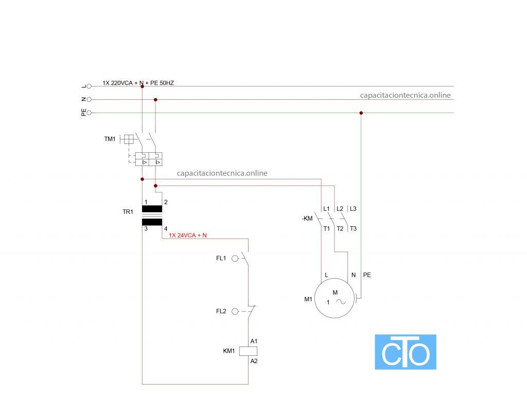 Circuito eléctrico de bomba en una cisterna con contactor en 24V